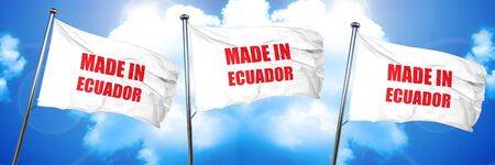 Made in ecuador with some soft smooth lines, 3D rendering, triple flags