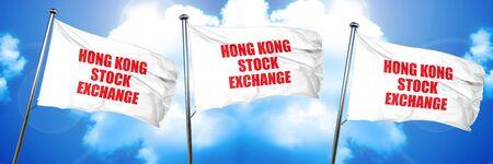 hong kong stock exchange, 3D rendering, triple flags