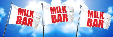 milk bar, 3D rendering, triple flags Imagens