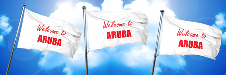 Welcome to aruba card with some soft highlights, 3D rendering, triple flags Imagens