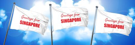 Greetings from singapore card with some soft highlights, 3D rendering, triple flags
