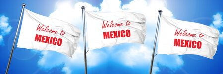 Welcome to mexico card with some soft highlights, 3D rendering, triple flags Imagens