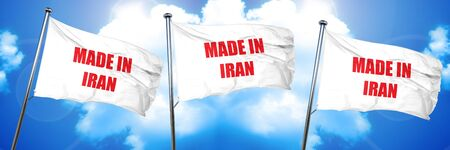 Made in iran with some soft smooth lines, 3D rendering, triple flags