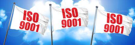 iso 9001, 3D rendering, triple flags Imagens
