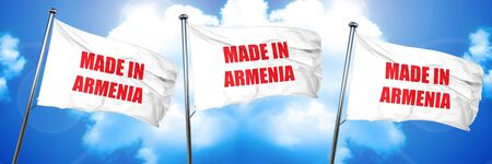 Made in armenia with some soft smooth lines, 3D rendering, triple flags Imagens