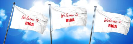 Welcome to riga with some smooth lines, 3D rendering, triple flags