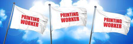 printing worker, 3D rendering, triple flags