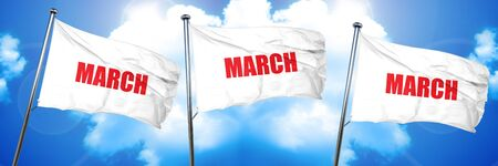 march, 3D rendering, triple flags Imagens
