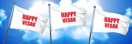 happy vesak, 3D rendering, triple flags