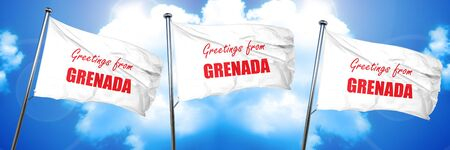 Greetings from grenada card with some soft highlights, 3D rendering, triple flags