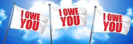 i owe you, 3D rendering, triple flags Banco de Imagens - 73174085