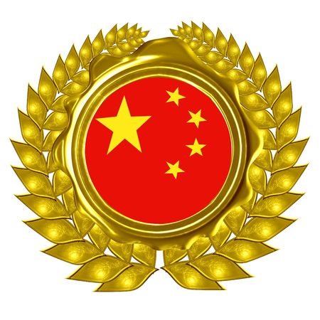 chinese flag in a wreath