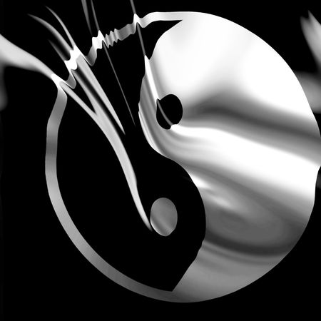 Yin yang symbol on a black background Editorial