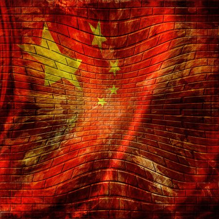 chinese flag painted on a brick wall Editorial