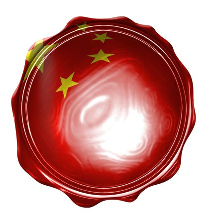 wax seal with the chinese flag on it Editorial