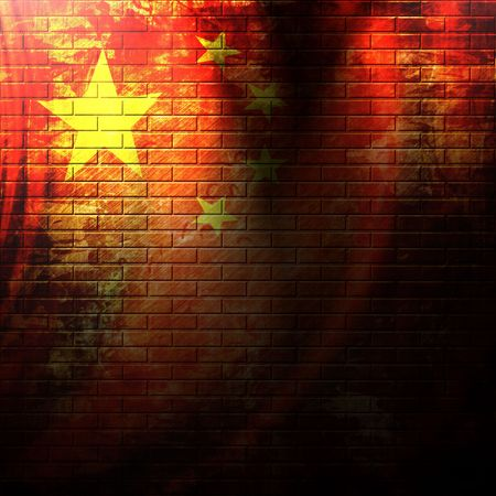 chinese flag painted on a grunge brick wall Editorial