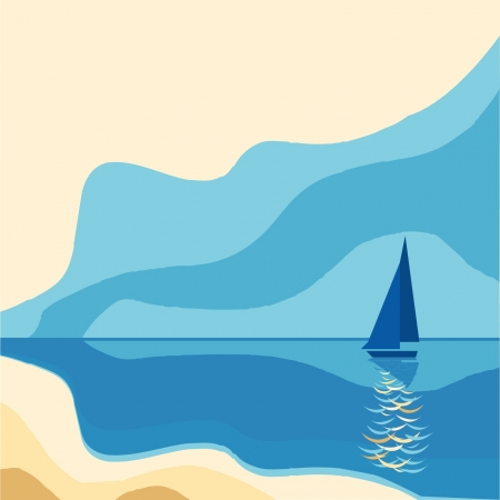 sailing vessel: Paisaje del mar con un velero