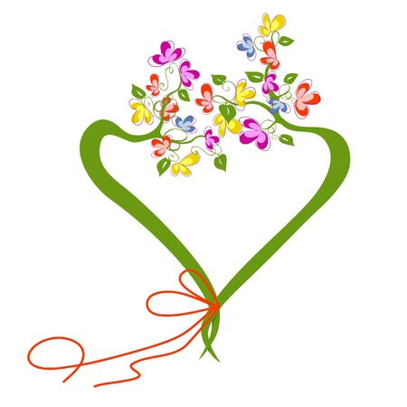 tree in the form of heart with flower krone Vector