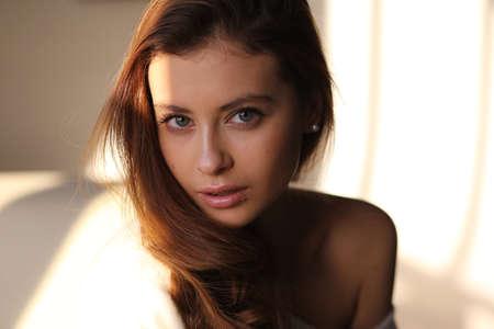 Beautiful young female brunette model