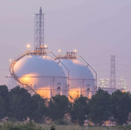 methane: tanks in gas refinery factory Stock Photo