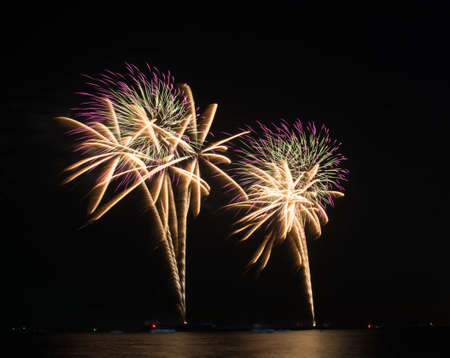Beautiful colorful holiday fireworks on the black sky background photo