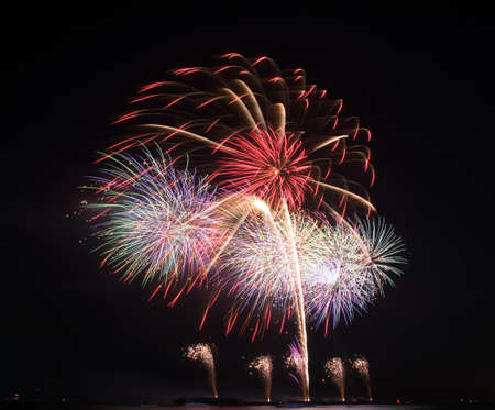 Colorful fireworks with the black sky background  photo