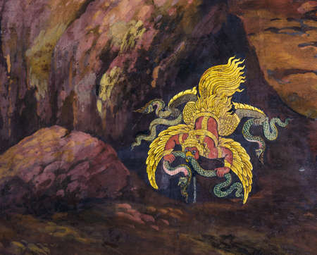 poems: Art wall painting at Grand Palace or Wat Pra Keaw, Bangkok, Thailand  The painting is about Ramayana epic story and war
