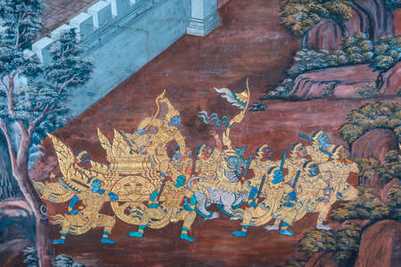 exquisite fairy: Art wall painting at Grand Palace or Wat Pra Keaw, Bangkok, Thailand  The painting is about Ramayana epic story and war