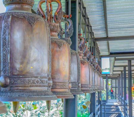 bangkok temple: Thailand, Bangkok, Temple, religious bells Stock Photo