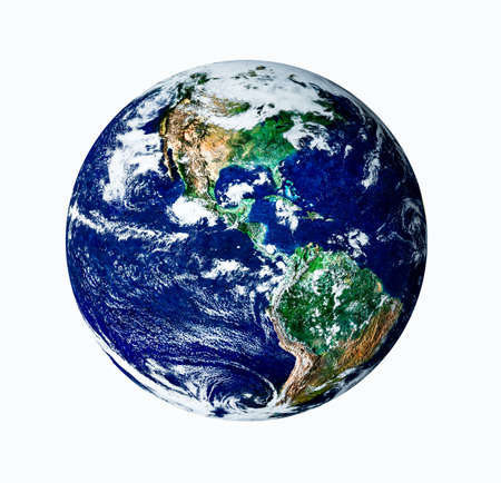 Planet earth with white isolate on USA view photo