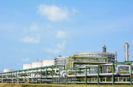 liquefied: Petrochemical plant with blue sky Editorial