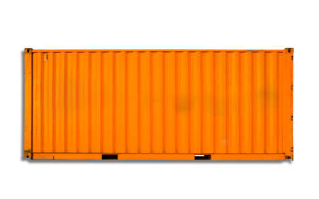 cargo container: Orange freight shipping container isolated on white with soft shadow Stock Photo