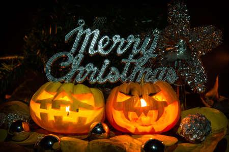 Merry chrismas pumpkins jack-o-lantern