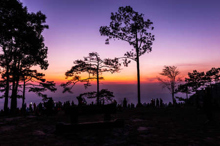 kradueng: Phu Kradueng National Park at Sunrise in Loei Province of thailand