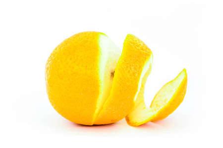 sweetened: Orange peel against white background