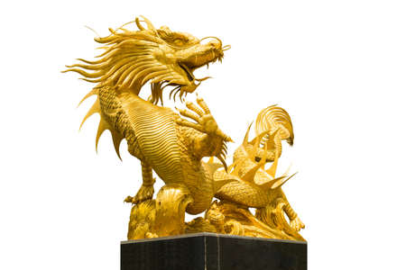 yearrn: Golden Chinese dragon on isolate background Stock Photo