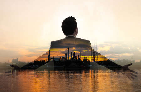 Double exposure of refinary oil and gas, and business man
