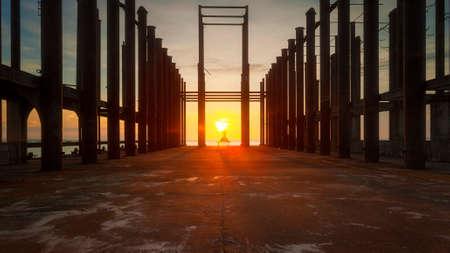architecture: Sunset in wood bridge at Djittabhawan Temple tourist attraction in Pattaya,Thailand
