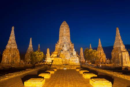 The world heritage Ayutthaya site, Thailand, Landscape of Pagoda at Wat Phasisanphet Ayuthaya Twilight Time