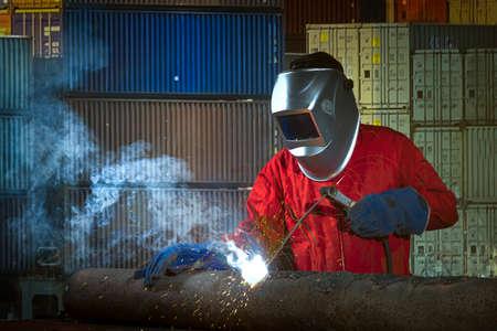 Worker welding the steel structure?