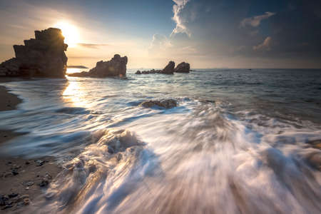 Seascape during sunset. Beautiful natural seascape? Imagens