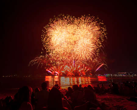 The silhouette of traveller watching fireworks and celebrating Imagens