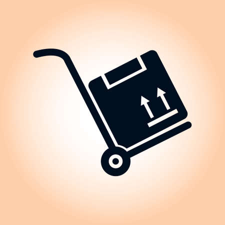 hand truck: Truck with boxes icon.  Hand truck sign symbol. Illustration