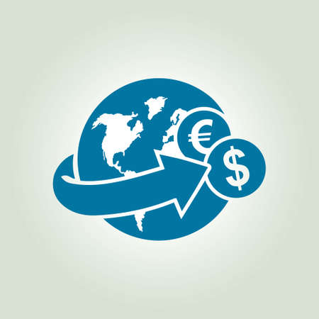 remittances: Arrow wrapped around the earth. Remittances icon.