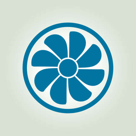 rotor: Exhaust fan icon. Ventilator symbol. Flat design style.