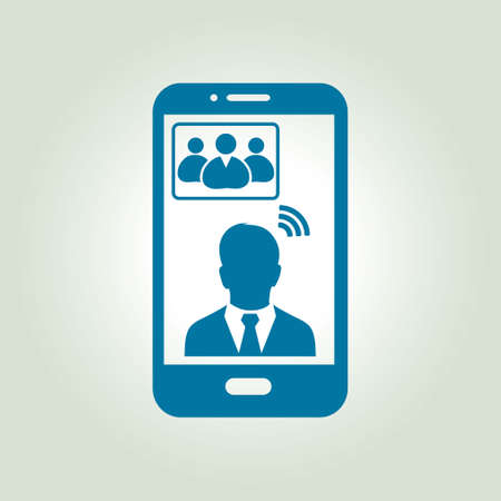 conferencing: Online conference smart phone icon. Voice and video conferencing via smartphones and tablets. Illustration