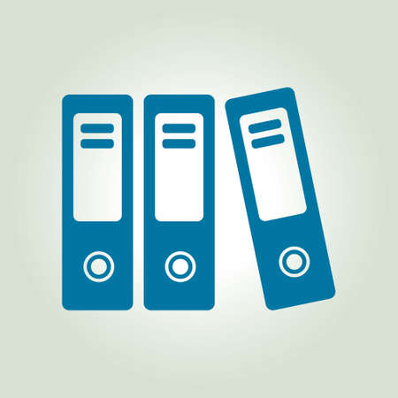 archives: Office folders with papers and documents. Archives folder icon. Illustration