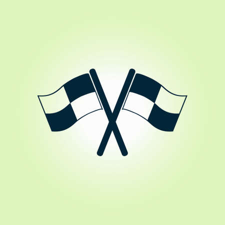 two crossed checkered flags: Flag icon. Location marker symbol. Checkered flags sign. Flat design style.