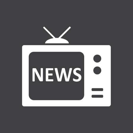 flat screen tv: News reporter on tv. Flat design style. Mass media symbol.