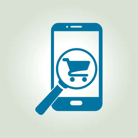 e commerce icon: Shopping online on smart phone icon.